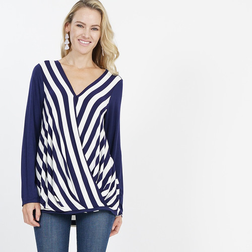 Striped surplice front tunic