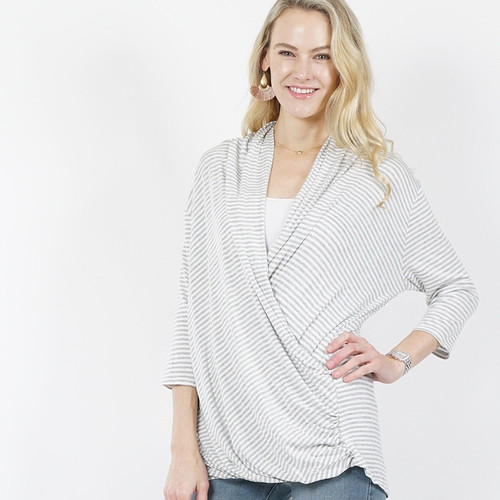 Surplice Top Grey and White