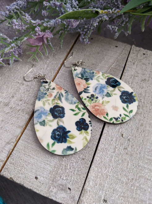 Pink and Blue Floral Pendant Earrings