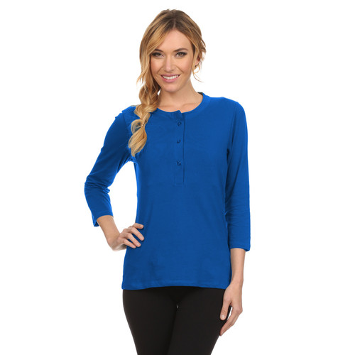 Hanna Henley Maternity Nursing Top - Royal Blue