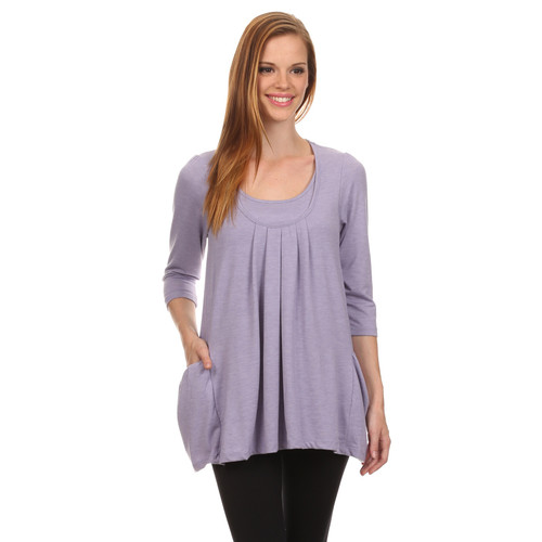 Sara Pleated Half Sleeve Maternity Nursing Shirt - Lavender