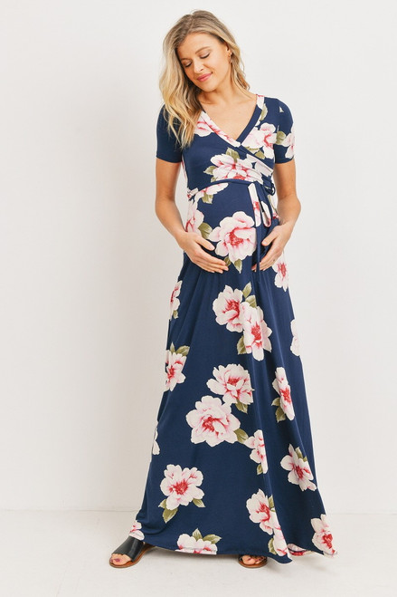 Floral  Jersey Maternity/Nursing Maxi Dress