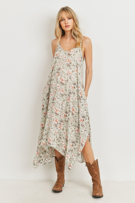 Floral Spaghetti Strap Maternity Maxi Dress