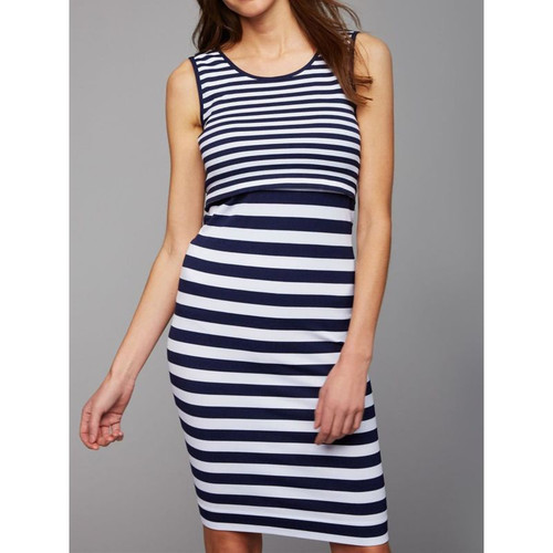 Blue and White Striped Maternity and Nursing Tank Dress