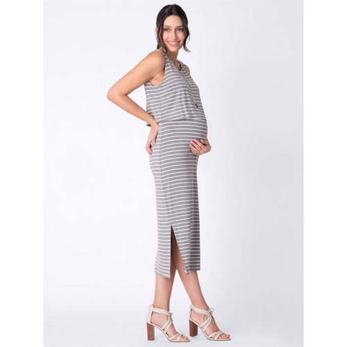 Grey and white striped Maternity and Nursing Dress
