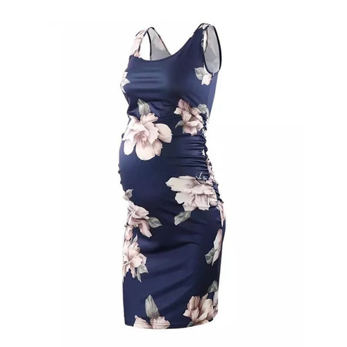 Stylish Flower Sleeveless Maternity Dress