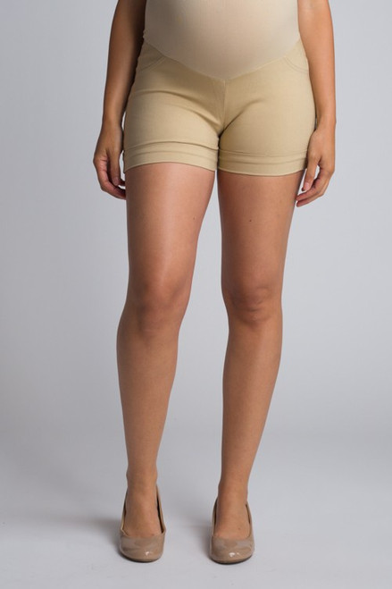 Khaki Over Belly Shorts