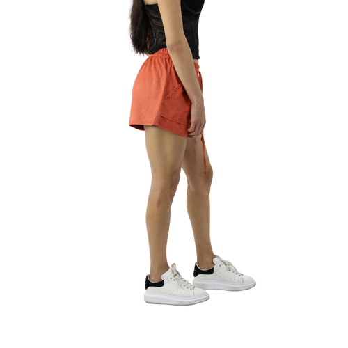 Mahogany Soft Surface Elastic Waistband Shorts