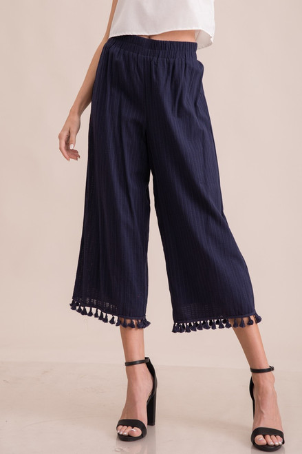 Navy Linen under belly pants. Crop length with tassles