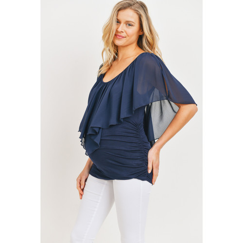 Navy with Ruffle top and cold shoulder cut out Maternity Top