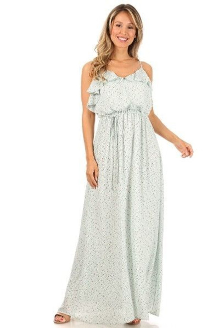 Mint Maxi Dress with spaghetti straps. Maternity and beyond