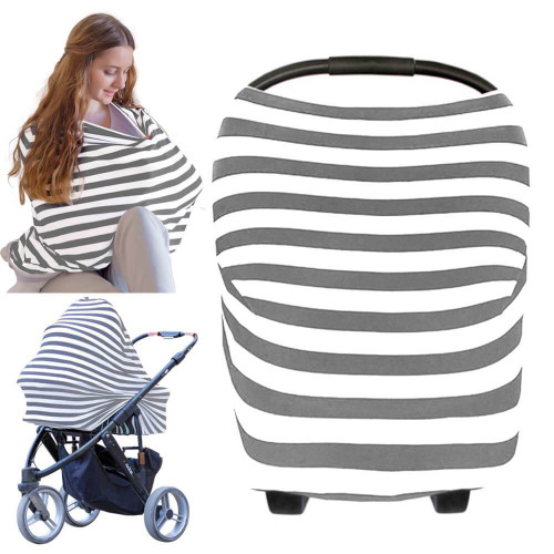 Grey and White Striped Multi Purpose cover for nursing, car seat, stroller and more