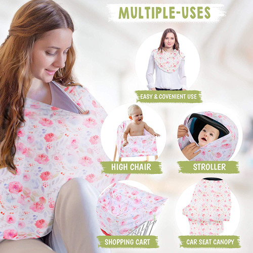 white multi purpose nursing, car seat, stroller cover with pink flowers