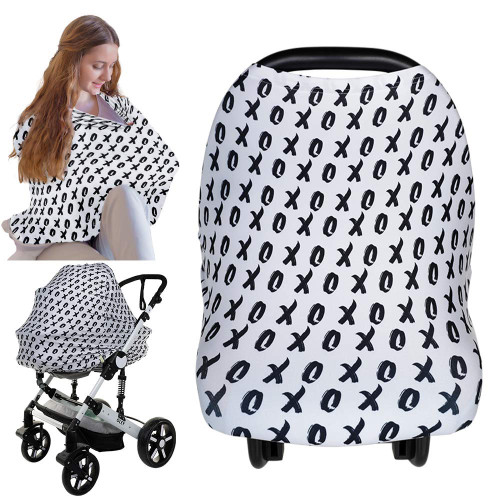 XOXO pattern white and black stretchy nursing and car seat cover