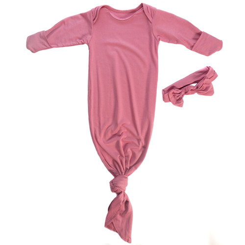 Newborn Knotted gown in pink