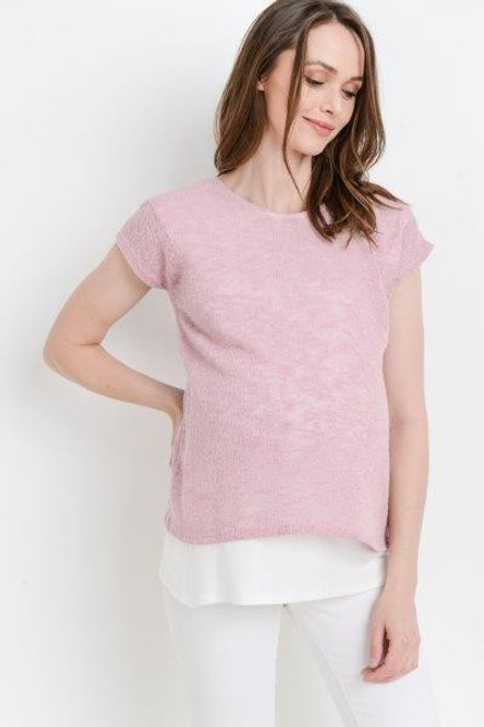 a pale pink round neck tee layered over a white hem. top layer lift for nursing access. Great for Maternity and nursing