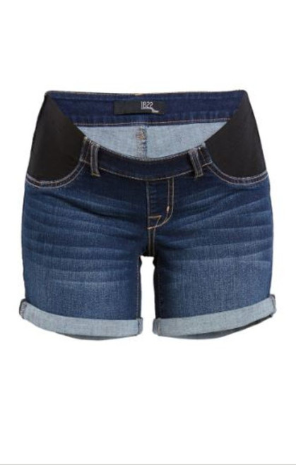 7 inch long dark wash denim shorts with side stretch panel for all stages of maternity and postpartum