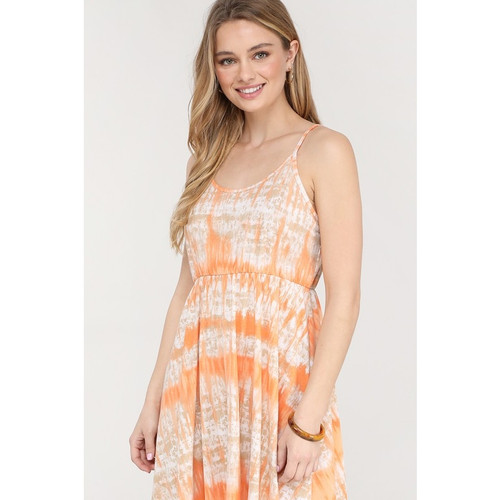 spaghetti strap dress with orange and white tie dye pattern for Maternity or womens wear