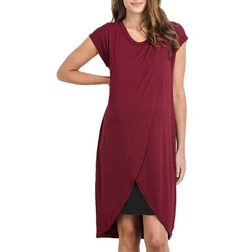 a red tulip hem maternity and nursing dress with black bodycon under dress