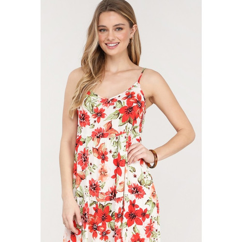 Spaghetti strapped floral maternity dress. Red flowers.