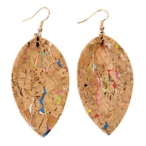 Cork leaf shaped earrings with multicolored speckles