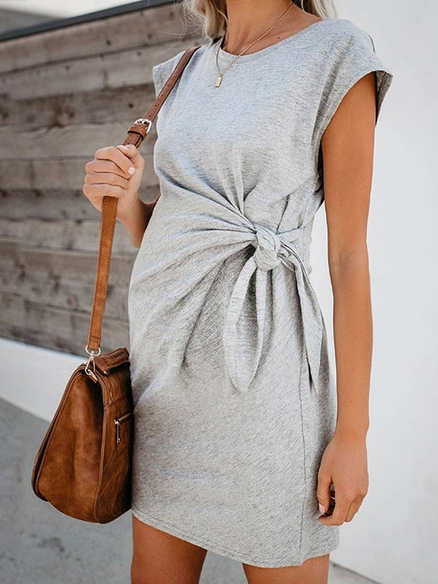 Solid Color Bow Knot Maternity Dress