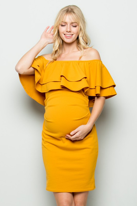 Double Layer Ruffle Fitted Off Shoulder Dress