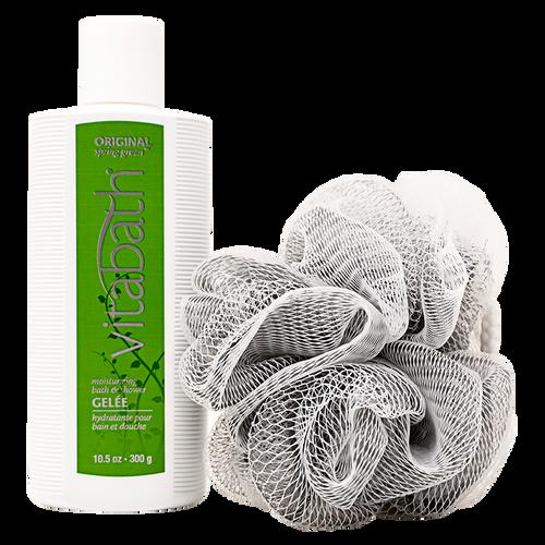 Gray/White Bath & Shower Pouf 30g