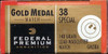 50 Rounds Federal Premium GM38A Gold Medal Match .38 Special 148gr Lead Wadcutter in 50 round boxes