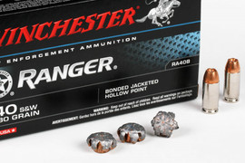 500 Rounds Winchester Ranger Bonded RA40B - .40 S&W 180 grain Bonded JHP in 50 round boxes - Not Restricted!
