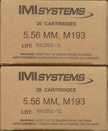 500 Round Case IMI M193 5.56 NATO 55 Grain FMJ in 20 round boxes - First Quality Military Ammo!