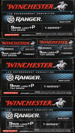 500 Round Factory Sealed Case  Winchester Ranger T-Series RA9124TP - 9mm +P 124 grain Jacketed Hollow Point