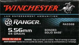 200 Rounds Winchester Ranger Bonded RA556B - 5.56 NATO 64 Grain Bonded Solid Base JSP - Barrier Blind FBI Duty Round
