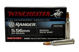 1,000 Round Case Winchester Ranger Bonded RA556B - 5.56 NATO 64 Grain Bonded Solid Base JSP Barrier Blind - FBI Duty Round