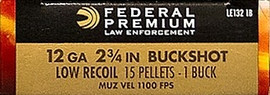 "50 Rounds Federal Premium Law Enforcement Tactical Buckshot LE132-1B - 12 GA 2-3/4"" #1 Buck, Low Recoil, 15 Pellet, FliteControl LE1321B"