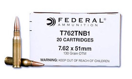 500 rounds Federal Lake City T762TNB1 7.62mm Enhanced MK319 Mod 0 130 Grain SOST OTM - US Military Barrier Blind Round