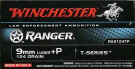250 Rounds Winchester Ranger T Series RA9124TP - 9mm +P 124 grain Jacketed Hollow Point