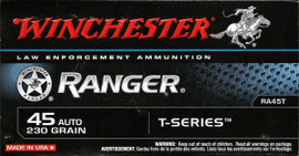 250 Rounds Winchester Ranger T-Series RA45T - 45 ACP 230 grain Jacketed Hollow Point in 50 round black boxes