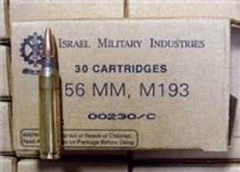 600 Rounds IMI M193 5.56 NATO 55 Grain FMJ in 30 round boxes