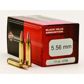 500 round Sealed Case Black Hills Ammunition Factory New D556N9 - 5.56 NATO 77 Grain Sierra MatchKing OTM in 50 round boxes - Identical to the MK262 Mod1 used by U.S. Military