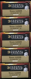 250 rounds Federal Premium LE Tactical P9HST1 - 9mm 124gr HST Jacketed Hollow Point in 50 round boxes