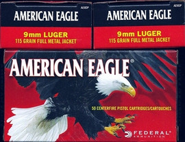 500 Rounds Federal American Eagle 9mm 115gr FMJ in 50 round boxes