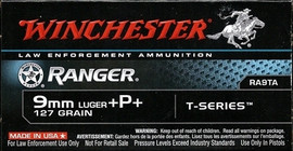 250 Rounds Winchester Ranger T-Series RA9TA - 9mm 127 grain +P+ Jacketed Hollow Point
