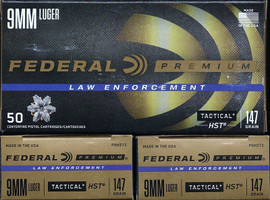 500 rounds Federal Premium LE Tactical P9HST2 - 9mm 147gr HST JHP - High Quality Defensive Round!