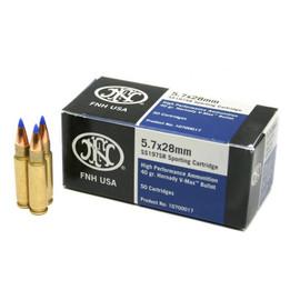 "500 Rounds FNH USA 5.7x28mm 40gr Hornady V-Max High Performance ""Sporting Cartridge"" - FN SS197SR"