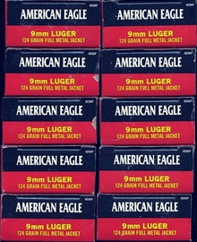 500 Rounds Federal American Eagle AE9AP - Target 9mm 124gr FMJ