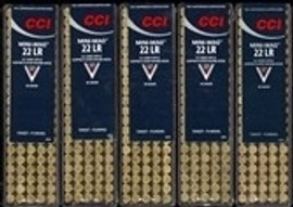 1000 Rounds CCI Mini-Mag High Velocity Ammunition 22 Long Rifle 40 Grain Copper-Plated Lead Round Nose - No Limits!