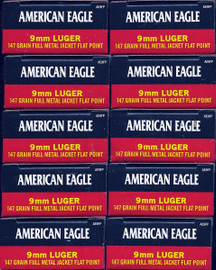 500 Rounds Federal American Eagle AE9FP - 9mm 147gr FMJ