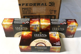 1000 rounds Federal Premium LE Tactical P9HST1 - 9mm 124gr HST Jacketed Hollow Point in 50 round boxes