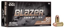 500 Rounds CCI Blazer Brass .45 ACP 230 Grain FMJ - 5230